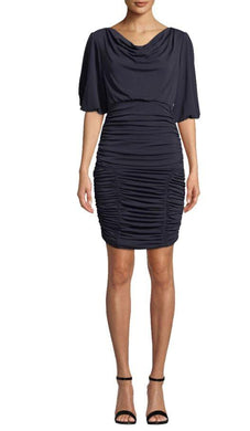 Nicole Miller Navy Matte Jersey Ruched Dress, 4