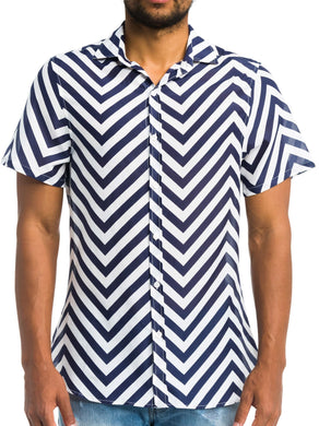 Argyle Grant NAVY CHEVRON Blake Beach Short Sleeve Poplin Shirt, US 2X-Large