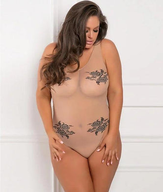 Rene Rofe NUDE Plus Size Romantic Bodysuit, US One Size - racks-op
