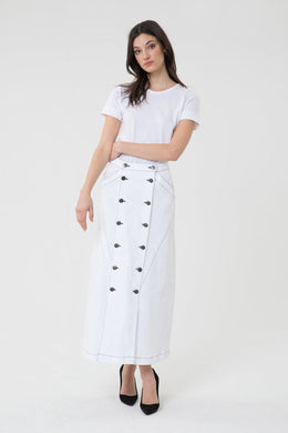 3x1 Women's STAR WHITE Jason Wu Paneled A-Line Long Denim Skirt 31