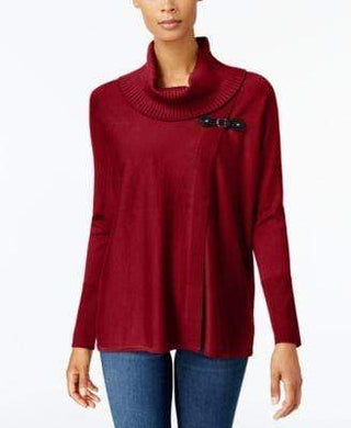 Jm Collection Cowl-Neck Red Sweater, Size M