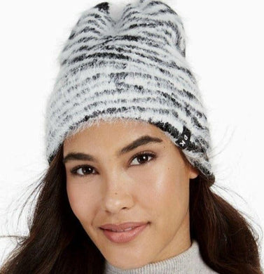 DKNY Black/White Fuzzy Animal Print Beanie, One Size