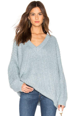 MinkPink Women's Blue Candid V Neck Sweater, XS
