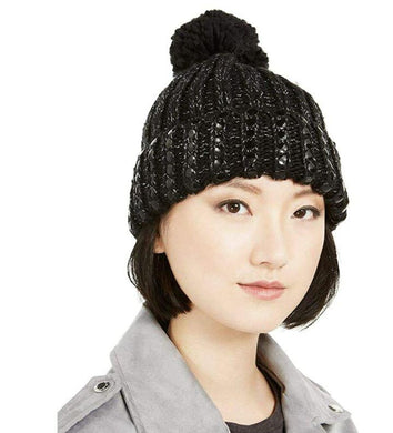 DKNY Women's Black Silver Flat-Stud Metallic Rib-Knit Chunky Hat, One Size