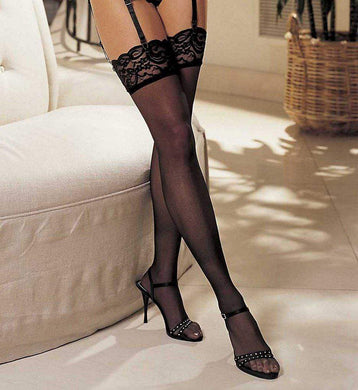 Shirley of Hollywood BLACK Lace-Top Stockings, US One Size - racks-op