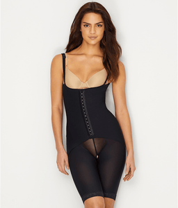 LEONISA Black Open-Bust Firm Control Bodysuit, US Large, NWOT