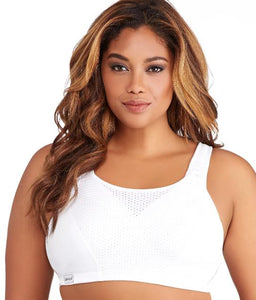 GLAMORISE WHITE CUSTOM CONTROL WIRE-FREE SPORTS BRA, SIZE US 36C - racks-op
