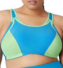 Load image into Gallery viewer, GLAMORISE Blue/Green Double-Layer Custom-Control Sport Bra, US 44H, UK 44G, NWOT