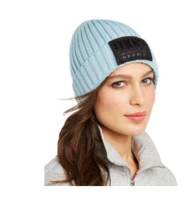 DKNY Blue Fleece-lined Knit Beanie, One Size