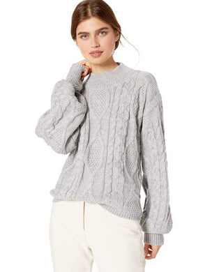 MinkPink Grey Dusk Till Dawn Cable Sweater, XS