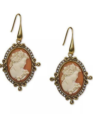 Patricia Nash Gold-Tone Imitation Pearl Cameo Medallion Drop Earrings