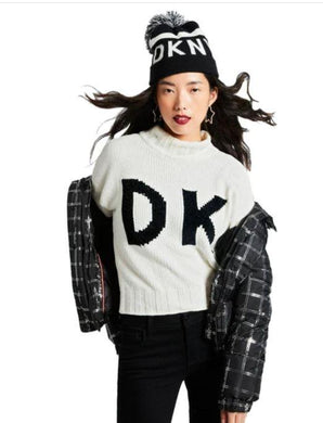 DKNY Black/White Logo Stadium Beanie With Pom, One Size