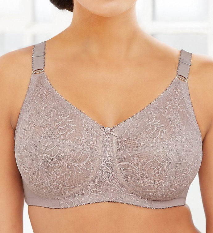 Glamorise TAUPE Comfort Lift Classic Lace Wireless Support Bra, US 46DD - racks-op