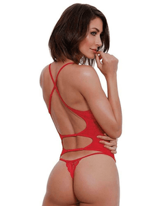 Dreamgirl LIPSTICK RED Stretch Mesh and Bustier & G-String Set, US One Size