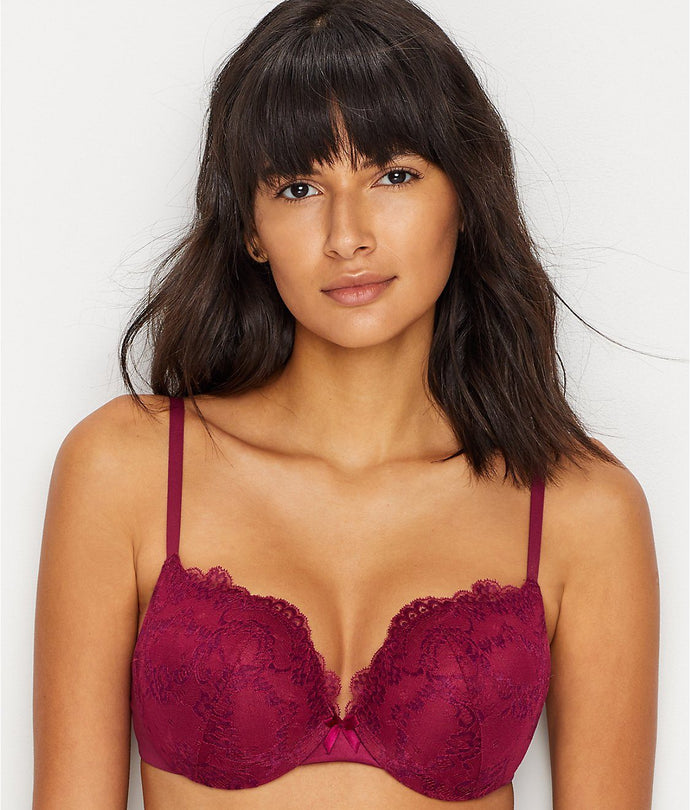 MAIDENFORM Deep Cerise Love The Lift Plunge Push-Up Bra, US 34D, NWOT - racks-op