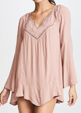 L*Space DUSTY PEARL Northern Star Embroidered Long Sleeve Tunic, US Small