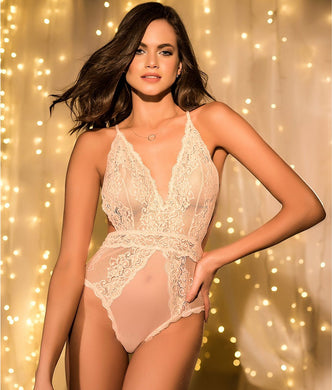 Mapalé PALE PEACH Cross Back Lace Teddy, US Small/Medium - racks-op