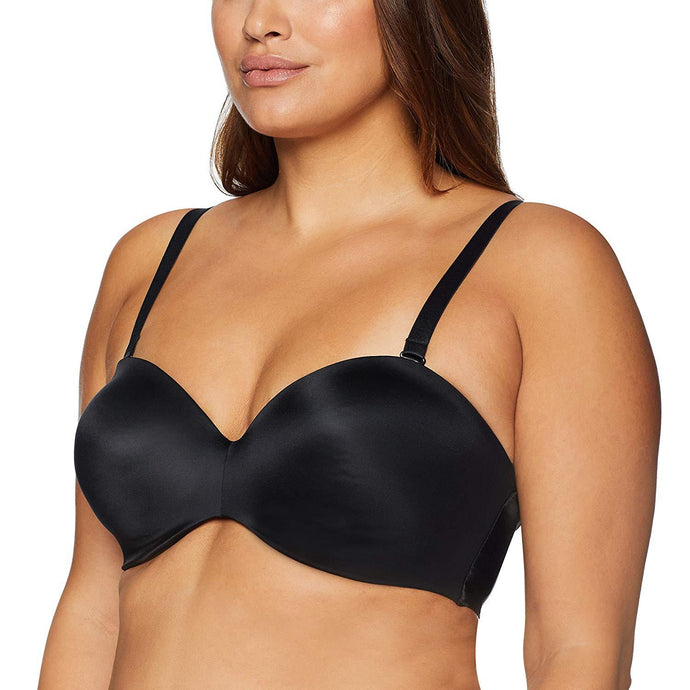 Curvy Couture BLACK Smooth Multi-Way Strapless Bra, US 44DD - racks-op