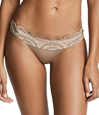 PilyQ SANDSTONE Lace Banded Full Cut Bikini Swim Bottom, US Large
