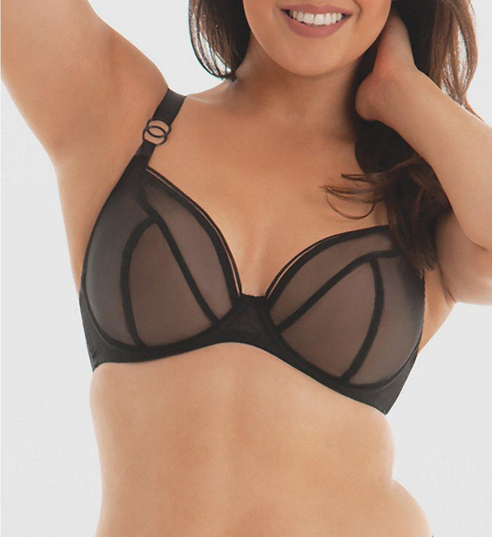 Curvy Kate BLACK Lifestyle Sheer Plunge Multi Part Cup Bra, US 40I - racks-op