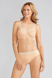 Amoena Apricot / Off-White Tracy Underwired Bra, Size US 40D - racks-op