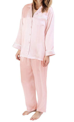 Linda Hartman Powder Pink, Silk Embroidered Pajamas, M - racks-op