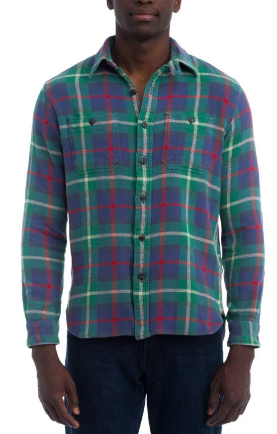Ralph Lauren Men's Green Plaid Flannel Shirt, XL