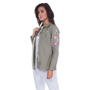 Levi's Women's Military Green Embroidered Button-Down Jacket, US XS