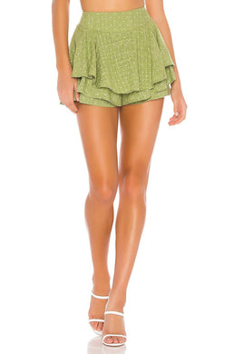 Mink Pink GREEN/WHITE PIN DOT Safari Star Light Mini Skort, US X-Small