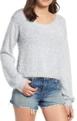 MinkPink Grey Clover Fields Chenille Sweater, Small