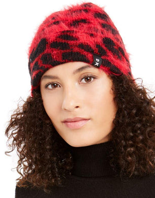 DKNY Red Fuzzy Animal Print Beanie, One Size
