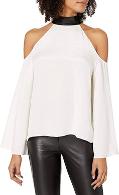Ramy Brook SOFT WHITE/BLACK Serena Cold Shoulder Top, US X-Small