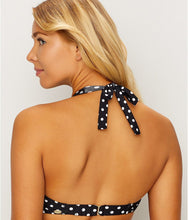 Load image into Gallery viewer, Sunsets BLACK/WHITE DOT Muse Halter Underwire Bikini Swim Top, US 36E/34F/32G