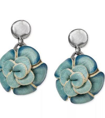 Patricia Nash Silver-Tone Leather Flower Drop Earrings SUZETTE