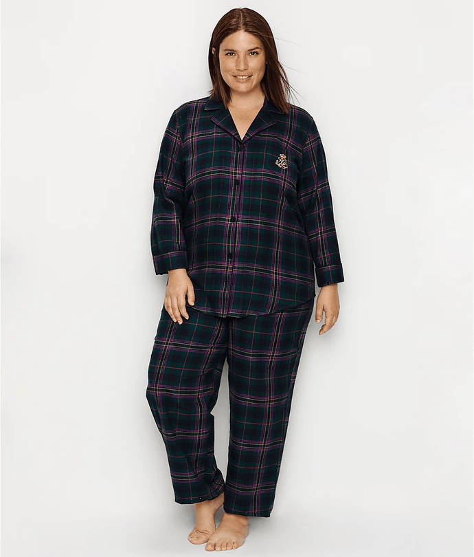 LAUREN RALPH LAUREN Green Plaid Sleeve Long Pants Pajama Set, US 1X, NWOT