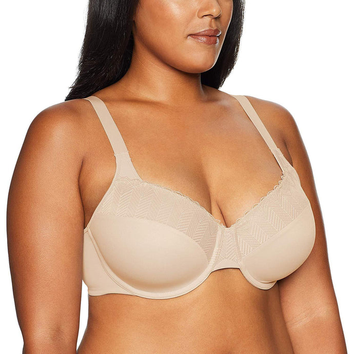 Bali LATTE LIFT LACE Passion for Comfort Back Smoothing Bra, US 34D - racks-op
