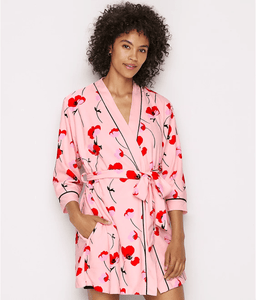 Kate Spade New York FALLING POPPIES Terry Robe, US Medium - racks-op