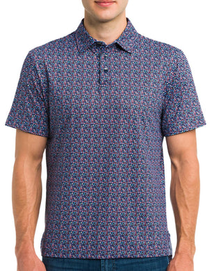 Robert Graham MULTI Curly Printed Performance Short Sleeve Polo, US Medium
