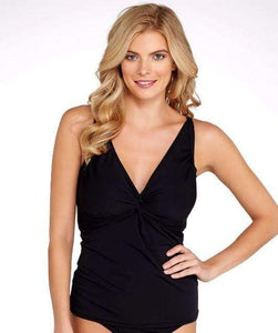 SUNSETS BLACK FOREVER UNDERWIRE TANKINI TOP E-H CUPS, SIZE US 38E/36F/34G - racks-op