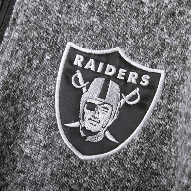 NFL Raiders HEATHERED CHARCOAL Fleece lined Full Zip Jacket, L