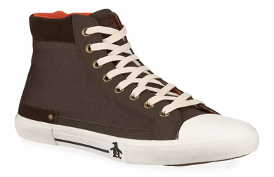 Original Penguin CHOCOLATE Lane Canvas High-Top Court Sneakers, US 11.5D