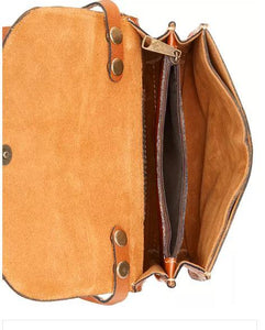 Patricia Nash Torri Tooled Leather Crossbody Color: Florance (TAN)