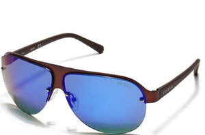 GUESS Brown/Blue Men's Rimless Shield Sunglasses