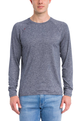 Rhone MIDNIGHT HEATHER Reign Long Sleeve Performance Tee, US 2X-Large