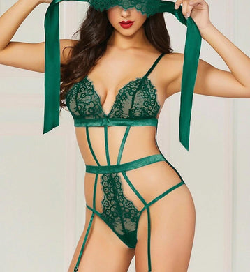 Seven 'til Midnight GREEN Eyelash Lace & Satin Teddy with Eye Mask, US One Size