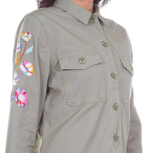 Load image into Gallery viewer, Levi's Women's Military Green Embroidered Button-Down Jacket, US XS