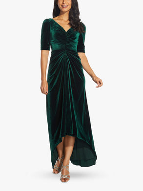 ADRIANNA PAPELL EMERALD Gathered Stretch Velvet Gown, US 4