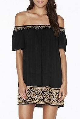 L*Space BLACK Embroidered Jasper Tunic Cover Up, US X-Small