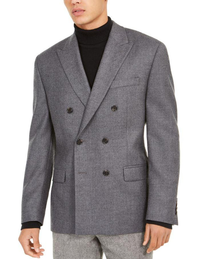 Ralph Lauren Men's Grey Double-Breasted Ultra Flex Sport Coat, 44R