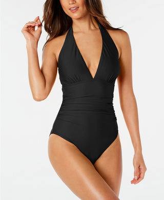 Tommy Hilfiger BLACK Solid Halter One-Piece Swimsuit, US 14